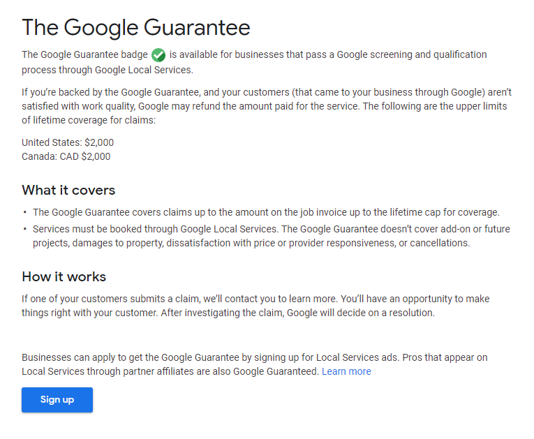 Google article explaining their new Google Guaranteed program.