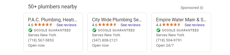 List of New York plumbers that are Google Guaranteed verified.
